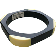 Black Cream Bakelite Bracelet