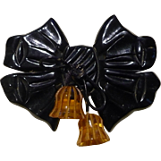 Black Bakelite Bow Pin