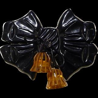 Black Bakelite Bow Pin