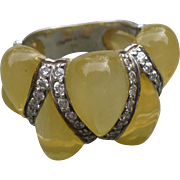 Sterling Rhinestone Lucite Ring