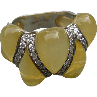 Sterling Rhinestone Lucite Ring