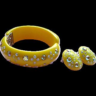 Yellow Weiss Bracelet Earrings Set