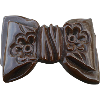 Brown Bakelite Bow Pin