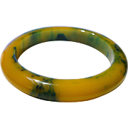 Marbled Yellow Blue Bakelite Bracelet