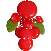 Dangling Bakelite Apple Pin