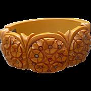 Bakelite Floral Hinge Bracelet