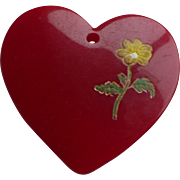 Red Bakelite Heart Charm