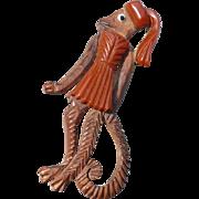 Bakelite Wood Monkey Pin