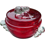 Czech Red Glass Covered Dish