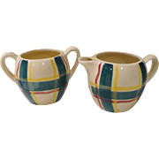 Puriton Pottery Plaid Cream & Sugar