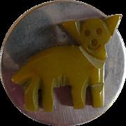 Green Dog Bakelite  Chrome Button