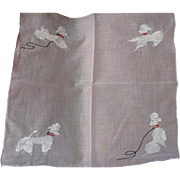 Embroidered Poodle Handkerchief