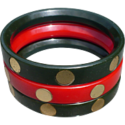 Bakelite Goldtone Dot Bracelets