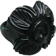 Black Bakelite Carved Ring