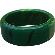 Green Bakelite Band Ring