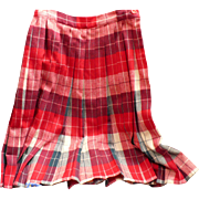 Pleated Plaid Wool Skirt 1950's