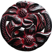 Carved Black Bakelite Floral Pin