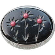 Bakelite Lucite Floral Pin
