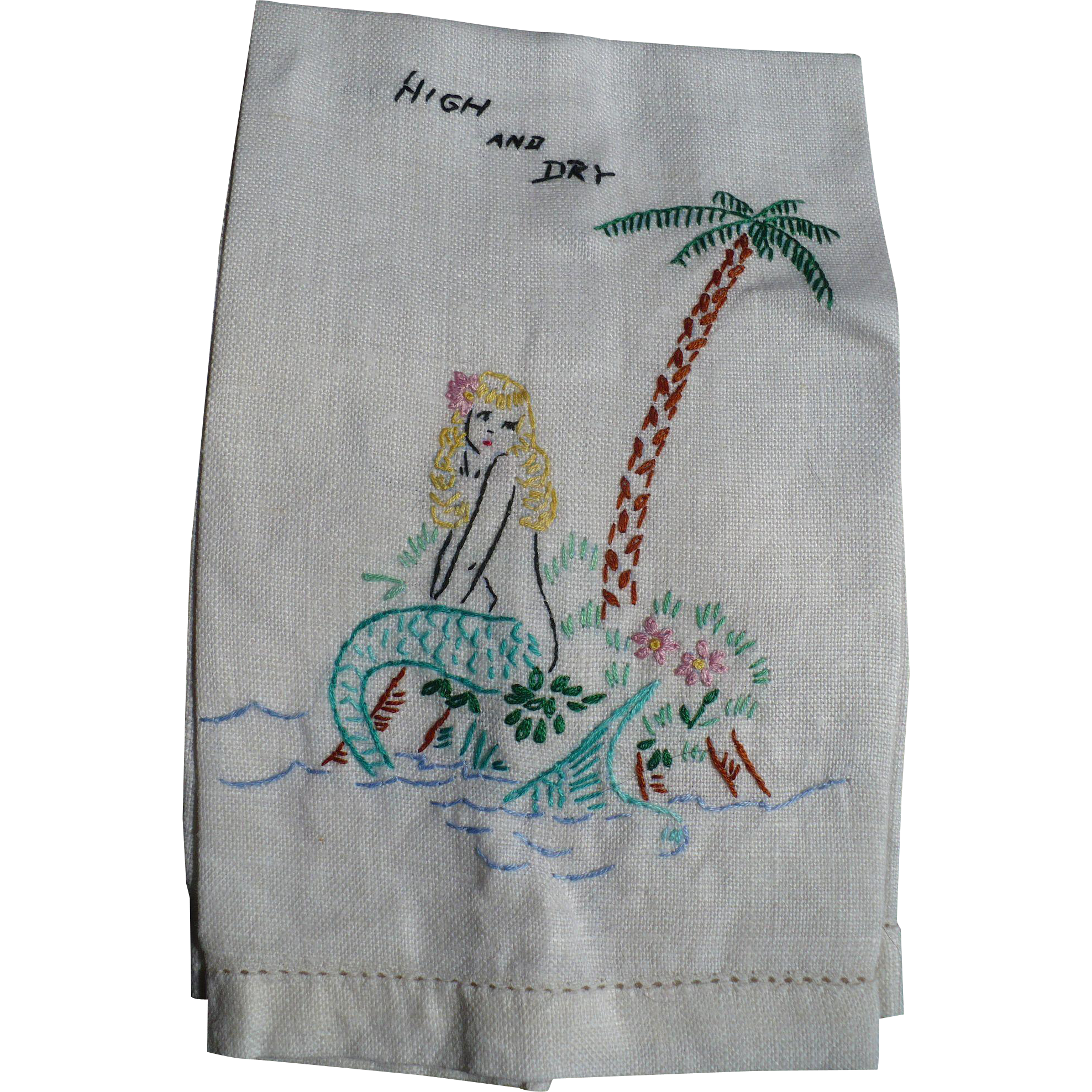 Embroidered Mermaid Towel
