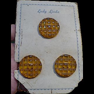Carved Applejuice Bakelite Buttons