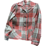 1940's Wool Plaid Shirt Jacket