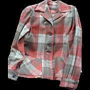1940's Wool Plaid Shirt Jacket