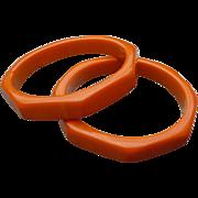 Pair Orange Bakelite Hexagon Bracelets