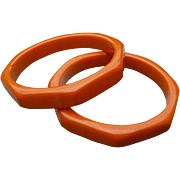 Pair Orange Bakelite Hexagon Bracelets