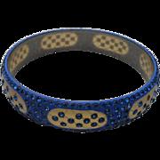 Blue Rhinestone Celluloid Bracelet