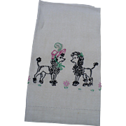 Boy Girl Poodle Embroidered Towel