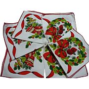 Christmas Holly Napkins Six