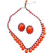 Orange Rhinestone Necklace Earrings