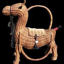 Camel Wicker Purse