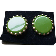 Green Bakelite Earrings