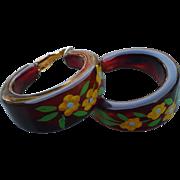 Root Beet Bakelite Earrings