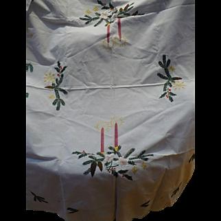 Hand Embroidered Christmas Cloth