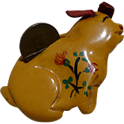 Bakelite Piggy Bank Pin