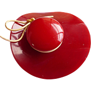 Red Bakelite Hat Pin