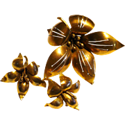 Brass Flower Pin & Earrings