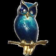 Boucher Enamel Owl Pin