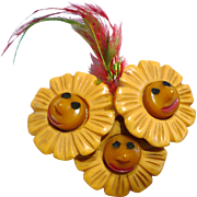 Bakelite Flower Faces Pin Martha Sleeper