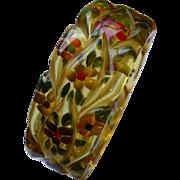 Reverse Carved Bakelite Floral Bracelet