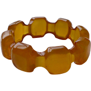 Carved Butterscotch Bakelite Bracelet