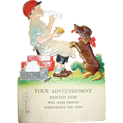 Die Cut Boy Dog Milk Advertisement