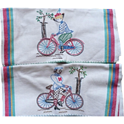 Bicyclist  Embroidered Towels
