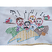 Barbershop Quartet Towel Hand Embroidered