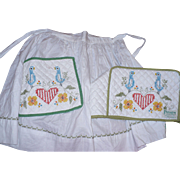 Hand Embroidered Toaster Cover and Apron