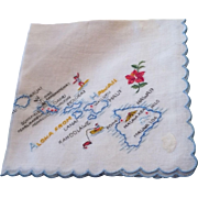 Embroidered Hawaii Handkerchief