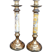Marble Brass Candlesticks