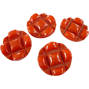 Large Orange  Carved Bakelite Buttons